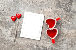 Tablet PC Red Heart Decoration JPG