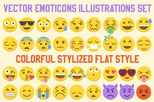 Big 36 Simple Flat Vector Emoji set