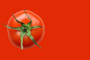 Red tomato vegetable over red