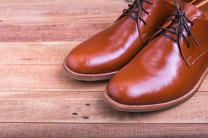 male brown leather shoes