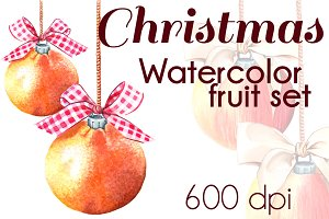 Christmas watercolor fruit set