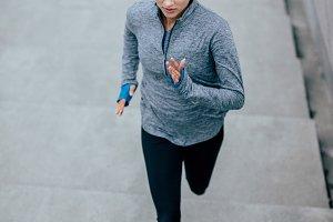 Fitness model doing running
