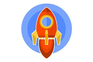 Rocket Icon in Flat Style