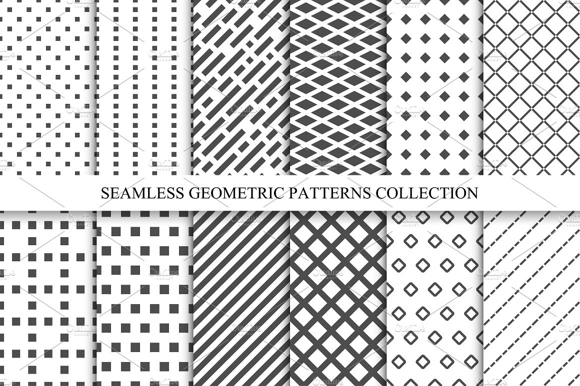 Seamless geometric patterns set. ~ Graphic Patterns