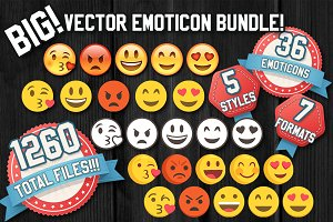 180 Big Emoticons Bundle