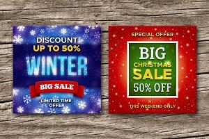 Christmas sale vector banners set