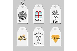 Christmas shopping and gift tags