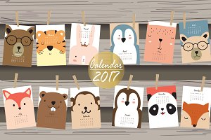 Calendar 2017 with cute animal 4#