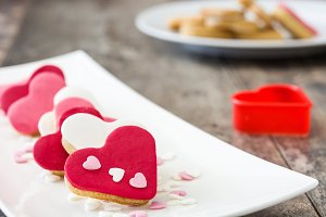 Valentine cookies with heart shape
