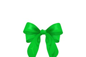 green bow, vector illustration
