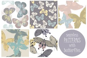 5 Seamless patterns with butterflies