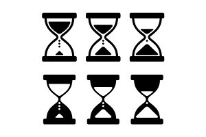 Sand Glass Clock Icons Set