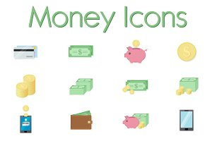 Set of Money Icons in flat style