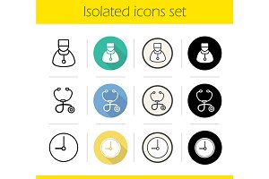 Hospital. 12 icons. Vector