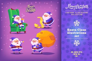 Set of Cartoon Santa Claus icons
