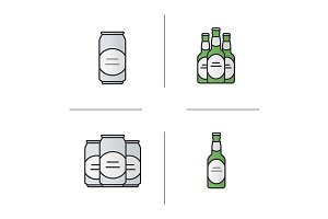 Beer. 4 color icons. Vector
