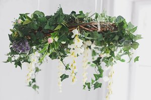 Wreath of white fabric flowers