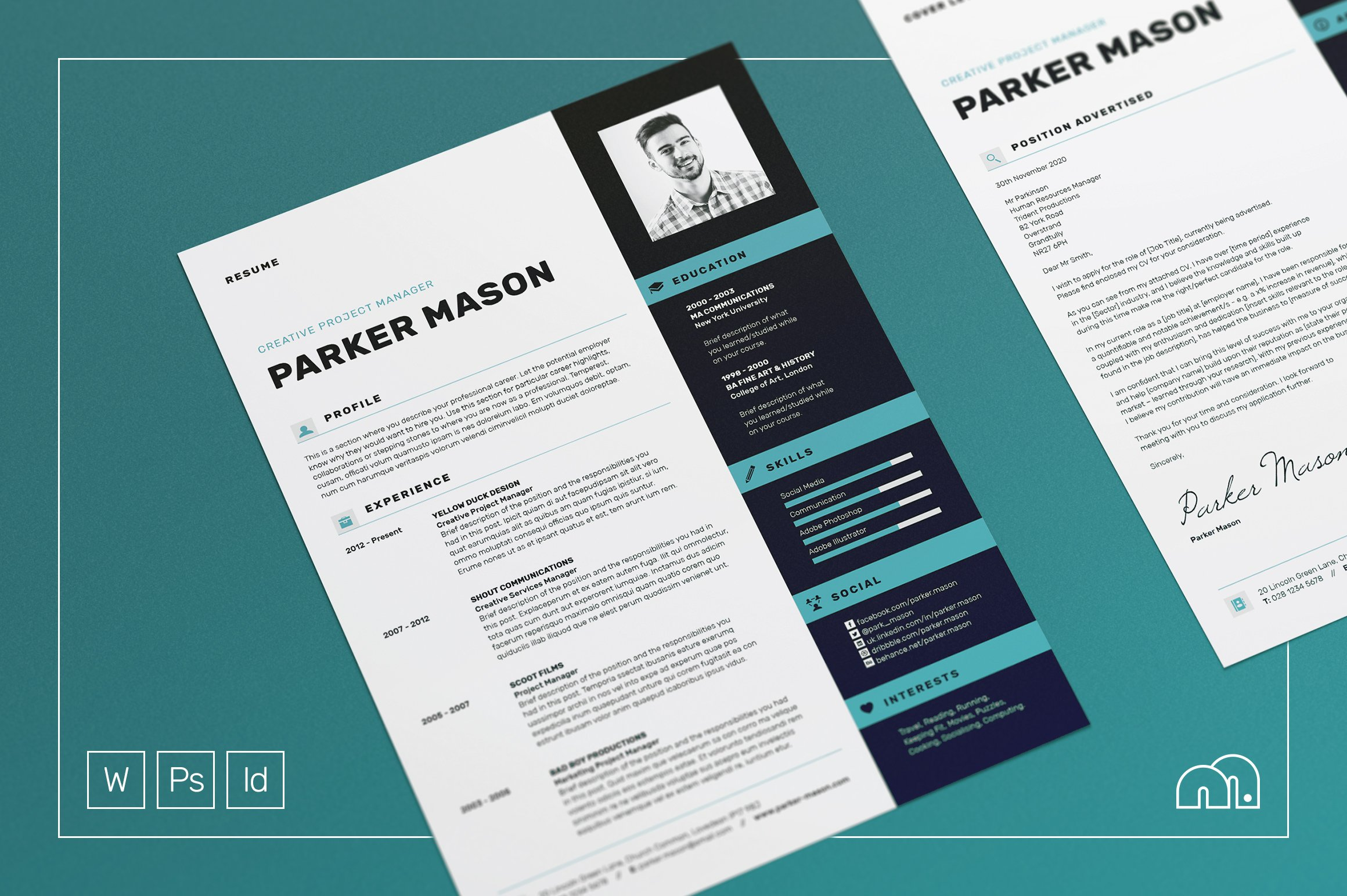 resume cv parker resume templates on creative market