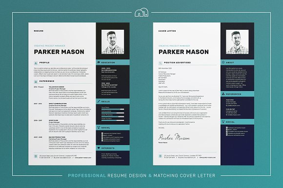 resume cv parker resume templates creative market