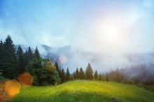Foggy mountain landscape