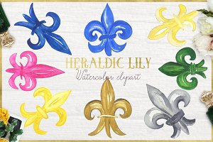 Heraldic Lily. Watercolor clipart.