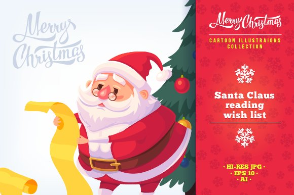 ee5f912534 Cartoon Santa Claus illustrations ~ Illustrations ~ Creative Market