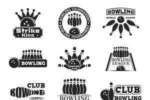 Vector set of bowling logo