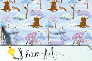 Seamless pattern - Winter Forest