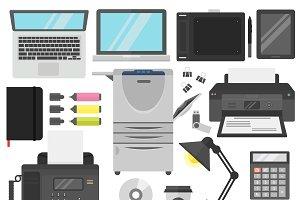Vector computer office equipment