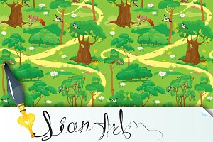Seamless pattern - Green Forest Land
