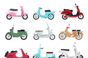 Vector vintage scooters