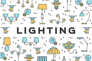 Lighting Icons, Lamps & Illustration