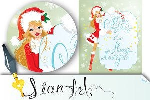 Blond xmas Girl wearing Santa Claus