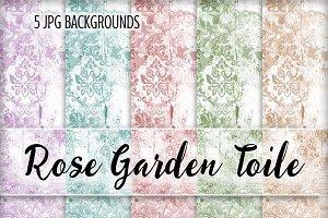 Rose Garden Toile Backgrounds - JPGS