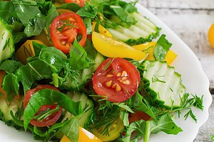 Fresh salad of tomatoes, cucumbers
