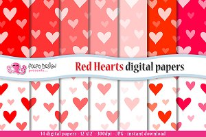 Red Hearts digital paper