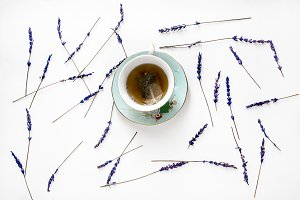 cup with lavender tea