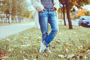 girl posing in the street