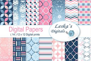 Ombre Digital Paper Patterns