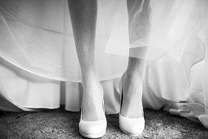 Thin delicate bride's leg