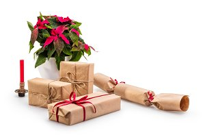 Christmas gift boxes with poinsettia
