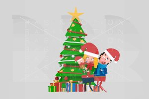 3d Illustration. Family Xmas Tree