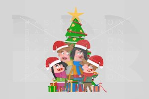3d Illustration. Family Xmas Tree.