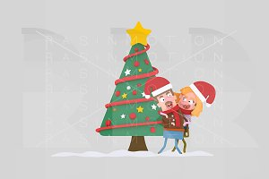 3d Illustration. Couple in love Xmas