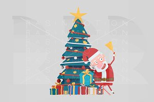 3d Illustration. Santa Xmas Tree.