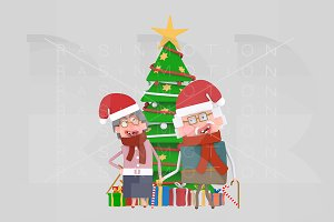 3d Illustration.Old Couple Xmas Tree