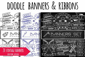 Doodle vintage banners & ribbons