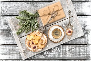 Christmas cookies, coffee, gift