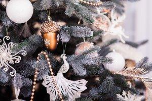 Christmas background. Beautiful decorated winter tree.