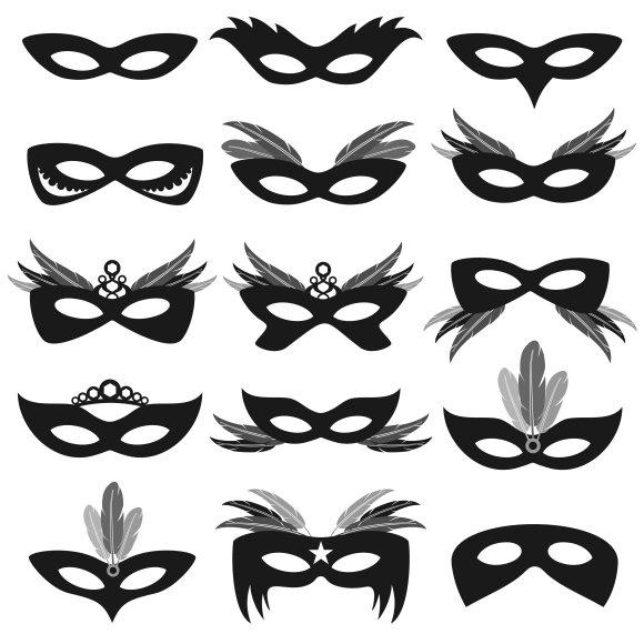 Black Carnival Party Face Masks